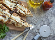 Turkish pita on table Royalty Free Stock Photo