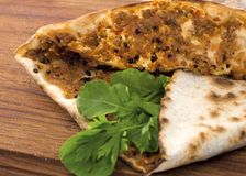 Turkish pizza lahmacun. Traditional turkish cuisine.turkish pizza or lahmacun Royalty Free Stock Image
