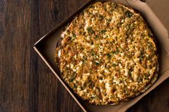 Turkish Pizza Lahmacun in Box. Traditional Food Stock Photo