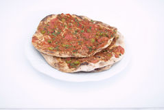 Turkish Pizza / Lahmacun. On Isolated Background Royalty Free Stock Photos