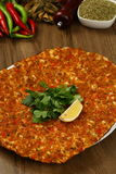 Turkish Pizza - Lahmacun. With vegetables and spices Stock Image