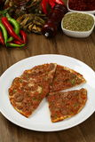 Turkish Pizza - Lahmacun. With vegetables and spices Royalty Free Stock Photos