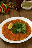 Turkish Pizza - Lahmacun. With vegetables and spices Royalty Free Stock Photography