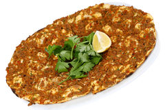 Turkish Pizza - Lahmacun. With vegetables and spices on isolated white background Royalty Free Stock Photos