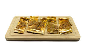 Turkish pizza. Traditional delicious meat minced Turkish pizza. `Pide Royalty Free Stock Image