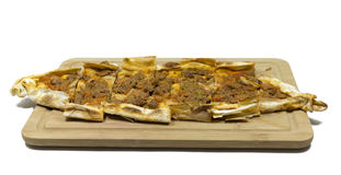 Turkish pizza. Traditional delicious meat minced Turkish pizza. `Pide Stock Photos