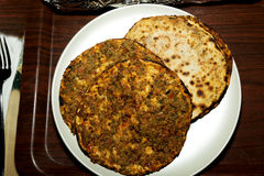 Turkish pizza traditional name is lahmacun Royalty Free Stock Photos