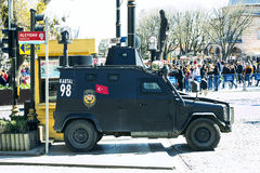 Turkish police on the streets of Istanbul during the military situation in the country Royalty Free Stock Photos