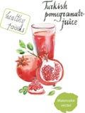 Turkish pomegranate juice watercolor Royalty Free Stock Photo