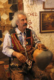 Turkish potter, pottery. Turkish potter, the famous monsieur Galip, working on a new pot stock image
