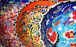 Turkish pottery. Traditional turkish pottery with flower pattern Royalty Free Stock Photo