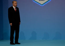 Turkish President Recep Tayyip Erdogan welcomes participants of the 25th anniversary Summit of the Black Sea Economic Cooperation Stock Photo