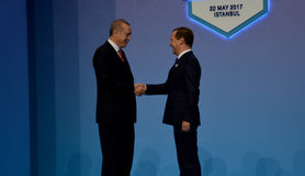 Turkish President Recep Tayyip Erdogan welcomes Russian Prime Minister Dmitry Medvedev Stock Photo