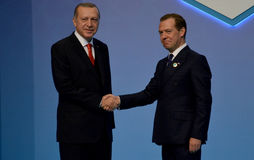 Turkish President Recep Tayyip Erdogan welcomes Russian Prime Minister Dmitry Medvedev Stock Photos