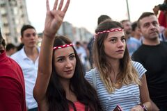 Turkish pro government supporters gather in Takism square after an attempted coup d'etat, Istanbul,