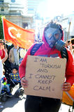 Turkish Protester with a gas mask Royalty Free Stock Photo
