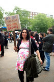 Turkish Protester in London. A pregnant Turkish woman in Hyde Park, London is supporting the protesters in Istanbul, Turkey following the demonstrations spiraled stock photo