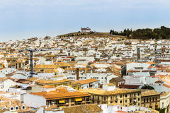 Turkish province city. Turkish white town with the chapel on a hill royalty free stock images