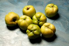 Turkish quinces on an emerald surface royalty free stock photography