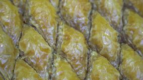 Turkish Ramadan Dessert Baklava, rotating shot. Turkish Ramadan Dessert Baklava close up stock video