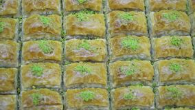 Turkish Ramadan Dessert Baklava, rotating shot. Turkish Ramadan Dessert Baklava close up stock video footage