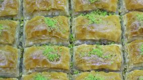 Turkish Ramadan Dessert Baklava, rotating shot. Turkish Ramadan Dessert Baklava close up stock footage