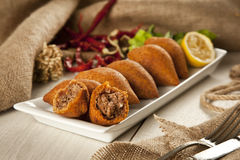 Turkish Ramadan Food icli kofte ( meatball ) falafel Stock Photo