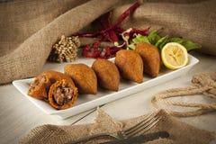 Turkish Ramadan Food icli kofte ( meatball ) falafel. Stock image royalty free stock photos