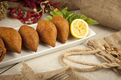 Turkish Ramadan Food icli kofte ( meatball ) falafel. Stock image stock photos