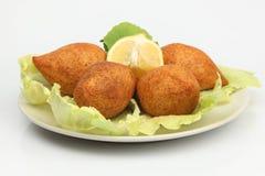 Turkish Ramadan Food icli kofte ( meatball ) falafel white background. Stock image royalty free stock image