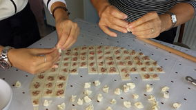 Turkish ravioli: manti. How to make manti royalty free stock images