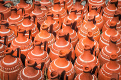 Turkish red clay pots outdoor Royalty Free Stock Photo