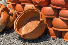Turkish red clay pots Royalty Free Stock Image