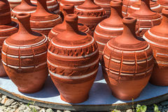 Turkish red clay pots Stock Images