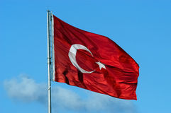 Turkish red flag. With white star and moon royalty free stock photography
