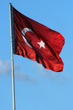 Turkish red flag. With white star and moon Royalty Free Stock Photo
