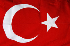 Turkish red flag. With white star and moon stock image