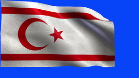 Turkish Republic of Northern Cyprus, Flag of Northern Cyprus - LOOP. Beautiful 3d flag animation on green/blue screen in 4k format - seamless looped stock video footage