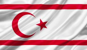 Turkish Republic of Northern Cyprus flag waving with the wind, 3. D illustration Stock Photo