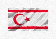 Turkish Republic of Northern Cyprus hand painted waving national. Flag, oil paint isolated on white canvas, 3D illustration Stock Images
