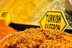 Turkish saffron on display. Turkish saffron displayed with other spices at Spice Bazaar in Instanbul stock photos