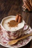 Turkish Salep or Sahlep with cinnamon sticks / Christmas Eggnog Stock Photography