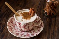 Turkish Salep or Sahlep with cinnamon sticks / Christmas Eggnog Royalty Free Stock Images