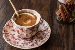 Turkish Salep or Sahlep with cinnamon sticks / Christmas Eggnog Stock Photo