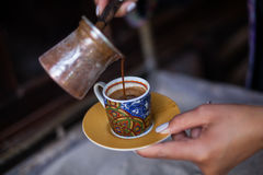Turkish sand coffee. Color image of some Turkish sand coffee poured in a cup Royalty Free Stock Photography