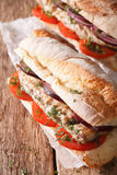 Turkish sandwich balik ekmek with fried mackerel close-up. verti stock photos