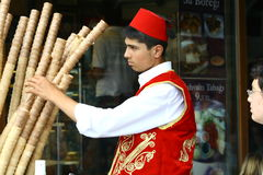 Turkish seller of ice cream Stock Photography