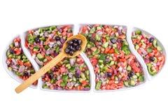 Turkish shepherd salad served with olives Stock Photos