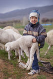 Turkish Shepherd Shows His Strength. ANATOLIA, TURKEY APRIL 18: Unidentified young boy shepherd demonstrates his strength on April 18, 2012 in rural Anatolia Stock Images