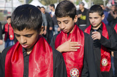 Turkish Shia children takes part in an Ashura parade Stock Image
